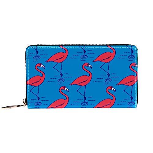 XCNGG Portafoglio da donna con cerniera e pochette per telefono, stampa fenicotteri blu, borsa da viaggio in pelle pochette porta carte organizer da polso portafogli