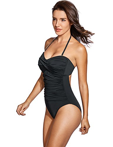 Dobreva Donna Costume da Bagno a Fascia Allacciatura al Collo Nero 38