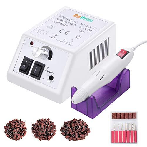 Limetta Elettrica per Unghie Professionale, Cadrim Macchina per Manicure Pedicure Kit per Limare Unghia, Portatile Elettronica Limetta Drill Acrilica (20000RPM) (Bianca)