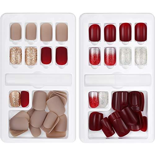 Gejoy - 60 unghie finte finte artificiali, kit di 12 misure in 2 scatole, copertura completa, con limette stick per nail art, salone di bellezza, fai da te, decorazione fai da te