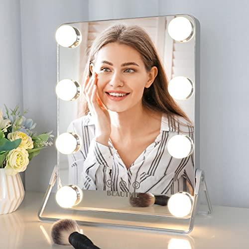 Specchio da tavolo con luci, specchio da trucco Hollywood con luce a 3 colori, 8 lampadine LED dimmerabili, controllo touch intelligente e rotazione, argento