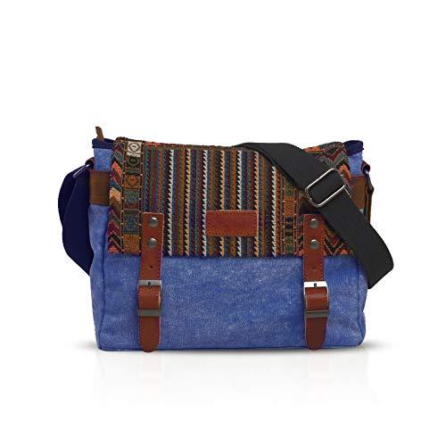 FANDARE Retro Borsa a tracolla Uomo/Donna Business Commuter Crossbody Bag Outdoor Travel Camping Grande Capacità Messenger Bag Traspirante Tela Blu