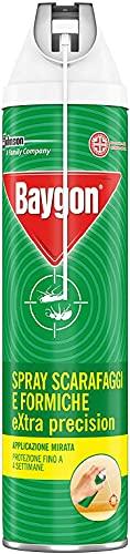 Baygon Extra Precision Anti Formiche Spray 400ml, con Cannuccia, Efficacie contro Scarafaggi e Cimici, fino a 4 Settimane, 1x400ml