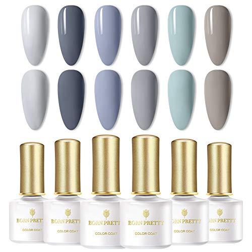 BORN PRETTY Set di smalti per gel UV Gel per unghie Gel per unghie Soak Disappear Set di 6 flaconi per design a colori puri (Set3)