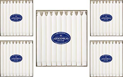 ASP-HOLMBLAD - Set di 100 candele da tavola in stearina danese (5 x 20), 24 x 2,3 cm, colore bianco, confezione risparmio