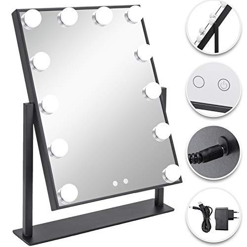VEVOR Specchio per Trucco con Luce, Specchio da Trucco 40 x 30 cm, con 14 Luci a LED, Specchio Trucco con LED alla Moda Hollywood, Specchio Illuminato per Trucco a LED 3 Luci Colorate, Angolo 360°