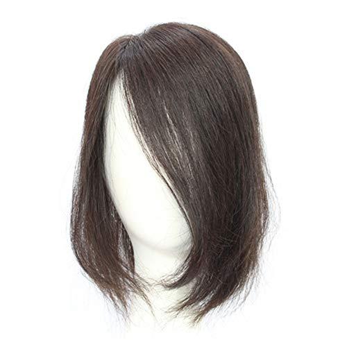 Parrucca per capelli veri umani con corona, 35,6 cm, parte destra, per donne con capelli diradanti, marrone scuro