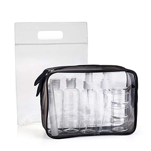 Beauty Case da Viaggio, MOCOCITO Trousse Trasparente + 8 Bottiglie(Massimo 100 ml) + Volo Borsa da Toilette Viaggio Custodia Trucco(20x20cm), Approvata Dai Regolamentazioni UE & UK Sul Bagaglio a Mano