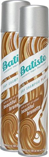Batiste Beautiful Brunette Shampoo secco con un tocco di colore per capelli castani, capelli freschi, per tutti i tipi di capelli, confezione da 2 pezzi (2x 200ml)