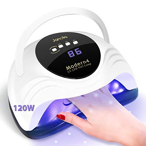 Janolia 120W Lampada UV LED,Lampada Unghie LED Professionale con Sensore di Avvio Automatico, Display LCD, 4 Timers da10s 30s 60s 99s,Lampada LED Unghie Portatile con Un Maneggiare