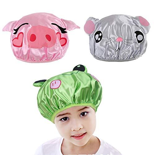 FineInno 3 Pezzi Bambini Cuffia Capelli Doccia Kids Shower Cap Cute Doppio Strato Impermeabile Cappello Doccia Bath Hat (3 pezzi cuffia doccia)