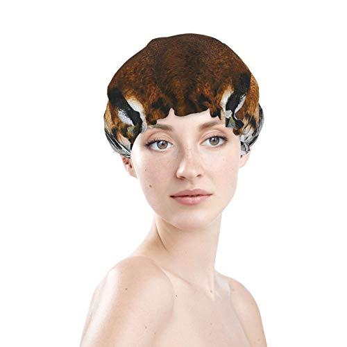 Tiger Face cuffia da doccia a doppio strato, per coprire i capelli lunghi e spessi, riutilizzabile e impermeabile