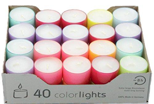 Wenzel-Kerzen 23-219-40-UK - Candele estive, autonomia: 8 Ore, in portacandele di plastica Multicolori