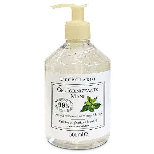 L' Erbolario - Gel Lava Mani - 500 ml   Alcol 76,6%   Con oli essenziali di Menta e Salvia, Senza risciacquo   OMAGGIO tisana Esclusiva TISANIAMO