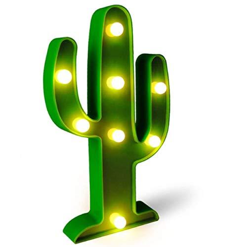 QiaoFei Luce Decorativa a LED Cactus, Lampade da Comodino Carine per La Camera dei Bambini, Camera da Letto, Regali, Feste per Feste, Giardino, Decorazioni per La Casa (Verde)