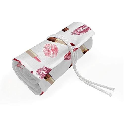 ABAKUHAUS Cosmetici Roll-up Portapenne Portamatite, Rossetto Trucco Bacio, Organizzatore di Matita in Tela Resistente e Portatile, 48 Passanti, Borgogna e rosa