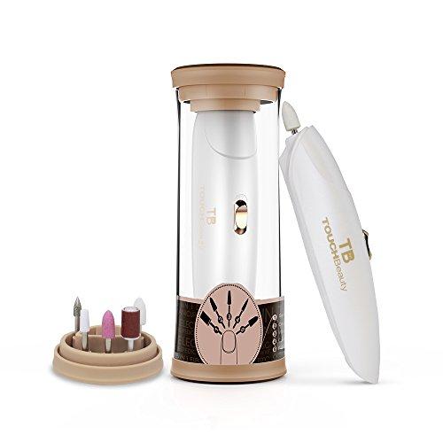 Manicure e Pedicure Elettrico Kit,TOUCHBeauty Potente Fresa per Unghie con 5 Accessori, Lucidatura per Unghie di Piedi Professionale, Scatola di Immagazzinaggio luce LED(Oro)
