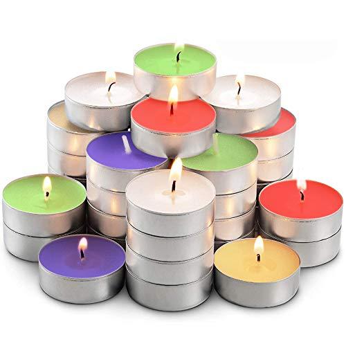 Candele per candele a forma di cuore, 50 pezzi per scaldacerera 2-4 ore, casalinghi, candele colorate per la vigilia di Natale, a forma di cuore, romantico, di lunga durata, 5 colori casuali