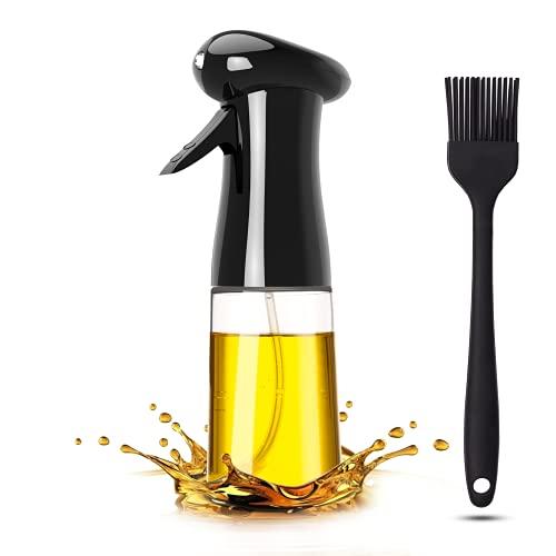 Pukitt Spruzzatore Olio 200ml Nebulizzatore Olio da Cucina Olio Spray Aceto/Olive Spruzzatore Oil Sprayer Dispenser per BBQ, Spray Olio Cucina con Spazzole