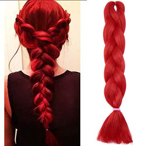 SEGO Treccine Africane Afro Extension Capelli Sintetici Treccia Finta Braids Hair Trecce Lunghe 60cm 1 Ciocca Crochet 100g # Rosso Naturale