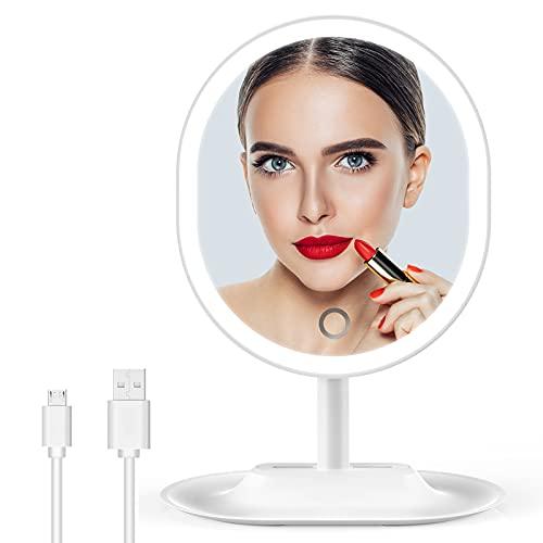 Specchio Trucco con Luci, 3 Colori 46 LED Specchio da Tavolo con Illuminazione Continua, Touch Screen, Rotazione di 90°, Doppia Alimentazione, Specchio Portatile Staccabile per Rasatura Viaggio