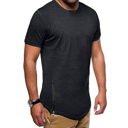 Xmiral T-Shirt Uomo T-Shirt Semplice Moda Casuale Maniche Corta T Shirt Maglietta da Uomo Camicie da Uomini Tees Manica Lunga Tops Maniche Corte Polo Maglietta Uomo XXXL Nero