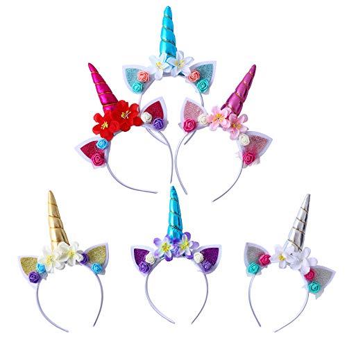 Colmanda Cerchietto Unicorno, 6 Pack Corna Cerchietto Accessori Unicorno, Fascia per Capelli Unicorno, Cerchietto Unicorno con Fiori per Feste di Compleanno, Cosplay e Feste in Costume (3)