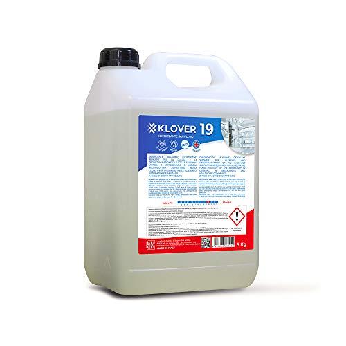 EVEN KLOVER 19 Detergente Igienizzante Sanificante a Base di Cloro Attivo al 2,2% H.A.C.C.P. Indicato per la Pulizia e la Decontaminazione da Germi e Batteri di tutte le Superfici Lavabili