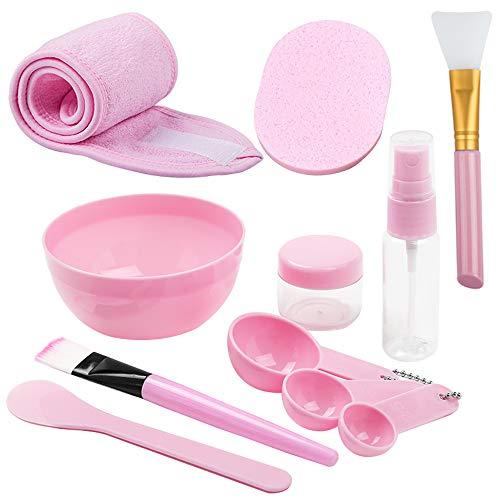 Set di strumenti per la miscelazione della maschera fai-da-te, YuCool Set di strumenti per la pulizia della ciotola fai-da-te Pennelli in silicone Stick Spatola Flacone spray Fascia regolabile-rosa