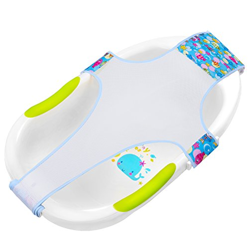 HBselect Riduttore Vaschetta Bagnetto in Cotone Seggiolino da Bagno per Bambini Antiscivolo 100x60 cm Supporto per Bagnetto (Blu)