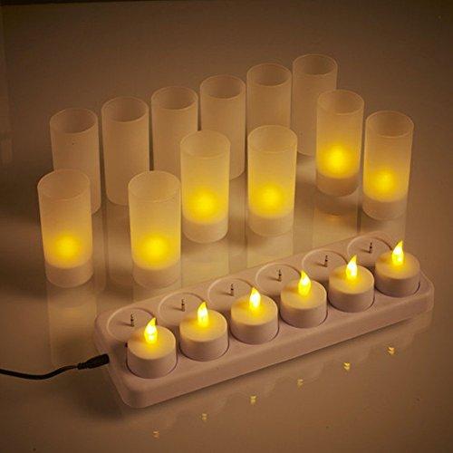 Atcket (12 confezioni), candele realistiche a LED ricaricabili senza fenicotteri, con supporto per matrimoni, feste a casa (non necessita di batterie).