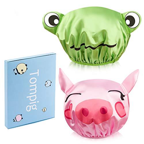 Cuffia da doccia, 2 pezzi, Tompig impermeabile, a doppio strato, per bambini, capelli lunghi (rosa, verde)