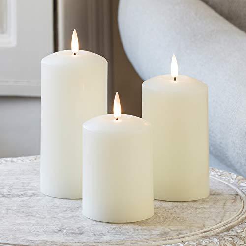 Lights4fun - TruGlow® Set di 3 Candele LED Bianco Caldo a Pile in Vera Cera d'Avorio Con Fiamma Tremolante