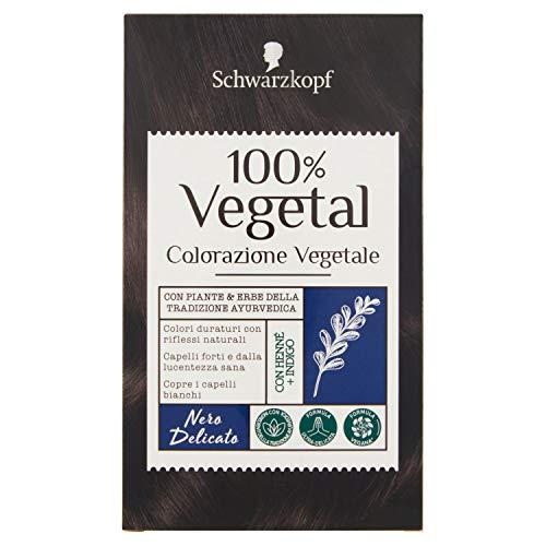 Schwarzkopf 100% Vegetal, Colorazione Vegetale per Capelli, Tinta per Copertura dei Capelli Bianchi, Formula Vegana Ultra Delicata, Nero Delicato