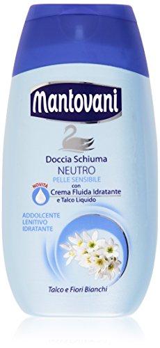 Mantovani - Doccia Schiuma, Neutro, con Crema Fluida Idratante e Talco Liquido - 250 ml, L'imballagio può variare