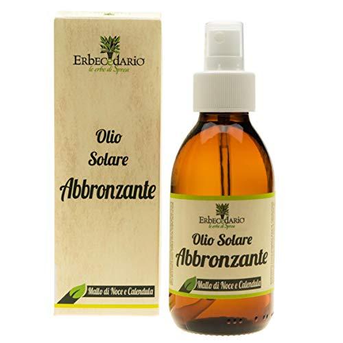 Olio Solare Abbronzante Naturale Mallo Di Noce E Calendula Erbecedario, Per Abbronzatura Rapida, Veloce E Uniforme, 1 Flacone 150ml