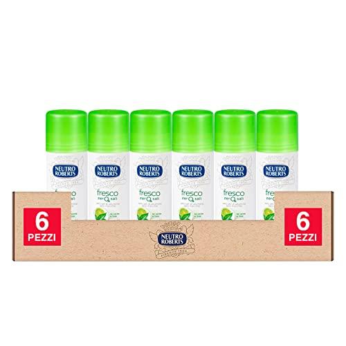 6x Neutro Roberts Deodorante Stick Fresco Zero Sali Efficace 48h Profumo Tè Verde e Lime - 6 Flaconi da 40ml ognuno