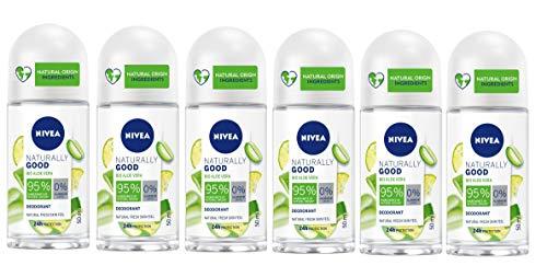 NIVEA Naturally Good Aloe Vera Deodorante Roll-On in confezione da 6 x 50 ml, Deodorante vegan dona alla pelle freschezza, Deo roll con formula vegana con Aloe Vera Bio