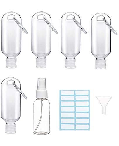 50ml Bottiglia da Viaggio Vuota per Gel Igienizzante Mani, 50 ml Contenitori Riutilizzabili per Sapone Liquido, Disinfettante per Mani, Lozione, Accessori da Viaggio Bambini