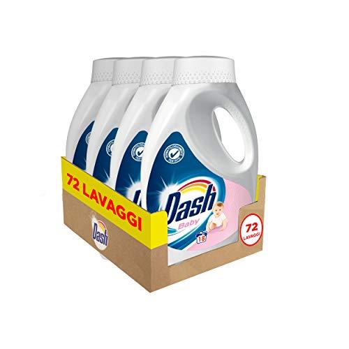 Dash Detersivo Liquido Lavatrice per Bambini, 72 Lavaggi (4 x 18), Dermatologicamente Testato per Pelli Sensibili, Maxi Formato, Pulizia Profonda, Per Tutti I Capi