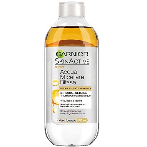 Garnier Acqua Micellare Bifase con Olio d'Argan Efficace sul Trucco Waterproof, 400 ml