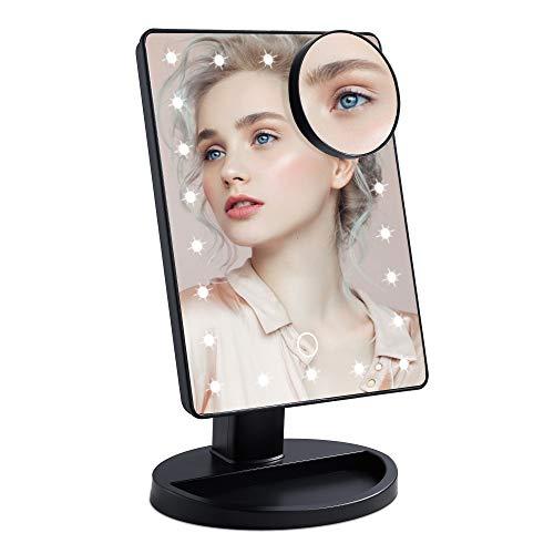 Wopeite Specchio per il trucco con Luci 22 LED e Ingrandimento 10X Specchietto per Il Trucco con Touch Screen Due Modalità di Alimentazione Rotazione 180° Nero