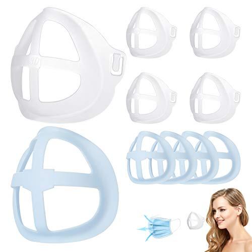 Wawech 10 PCS Staffa per maschera 3D, supporto interno in silicone traspirante per il viso, supporto interno per maschera per il viso, protezione per rossetto riutilizzabile