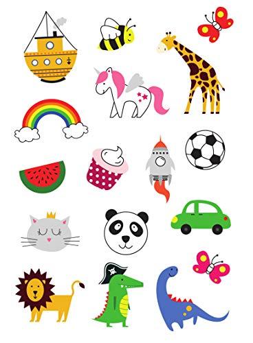 Set di Tatuaggi Temporanei per Bambini, Tatuaggio Finto per Infanti, Bimbi e Bimbe, Disegni Colorati e Belli, Unicorno, Dinosauro, Farfalla, per Feste, Compleanni, 2 Fogli 34 Tatuaggi, della Tatsy