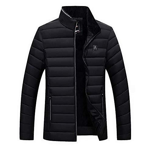 Men Winter Warm Coat Jacket Solid Stand Collar Zip Long-Sleeve Coats Outwear Plus Velvet Cotton Jackets Top Blouse M-4XL