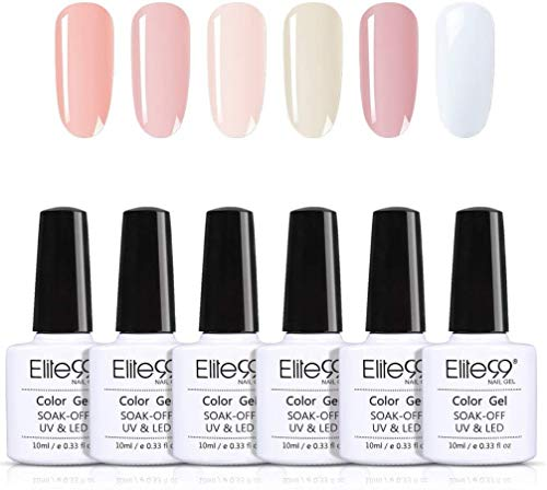 Elite99 Smalto Semipermanente per Unghie in Nudo Francese Gel UV LED Smalto per Unghie 6pzcs Kit Colorati Set per Manicure e Pedicure Semipermanente Soak off 10ml