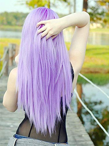 Parrucca naturale viola pastello ad alta temperatura sintetico pizzo frontale parrucca chiaro lavanda lilla pizzo frontale parrucca sirena party parrucca 66 cm