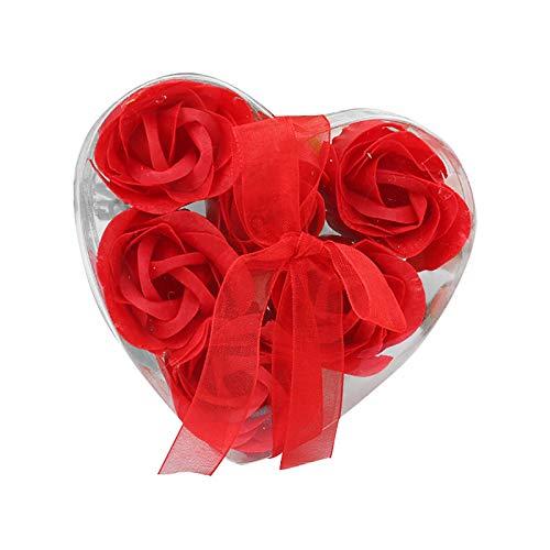 TinaDeer 6 Pezzi Fiore di Sapone Nella Scatola del Cuore- Profumato Sapone con olio Essenziale della Pianta- Fiori Artificiali Saponette Rosa,Festa Della Mamma, Anniversario (Rosso)