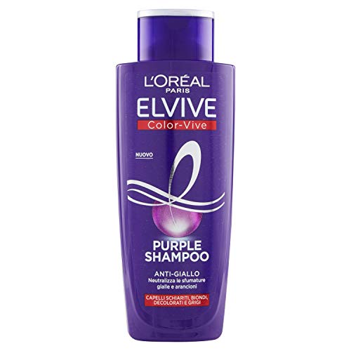 L'Oréal Paris Shampoo Antigiallo Color Vive Purple, Shampoo Antigiallo per Capelli Schiariti, Biondi, Decolorati e Grigi, 200 ml