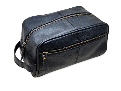 Jaald Borsa Valigetta Kit Beauty Case Pochette Wash Bag in Pelle da Uomo Donna per Bagno Toilette Rasoi Trucco Cosmetici Farmaci Necessaire Viaggi Impermeabile Regalo Leather toiletry bag dopp kit